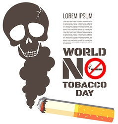 Skull shaped smoke with cigarette for World No vector image