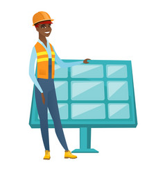 Young african worker of solar power plant vector
