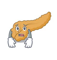 Afraid pancreas mascot cartoon style vector