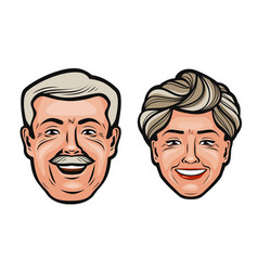 Aged people happy grandfather and grandmother vector