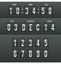 Airport characters and numbers in calendar clock vector