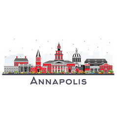 annapolis maryland city skyline with color vector image