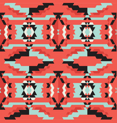Aztec tribal black and blue and red pattern vector