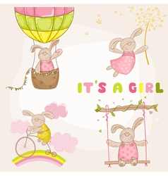 Baby bunny set - shower or arrival card vector