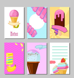 banner set cute sweet backgrounds ice cream vector image