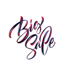 big sale lettering paint brush texture vector image