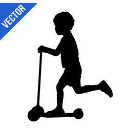 Boy silhouette riding scooter vector
