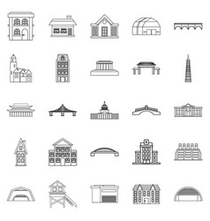 building icons set outline style vector image