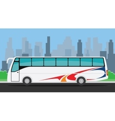 Bus on the road with city background vector