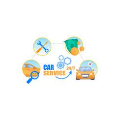 Car service cycle concept professional repair vector