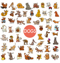 Cartoon dog characters large set vector