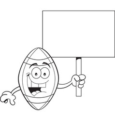 Cartoon football holding a sign vector image
