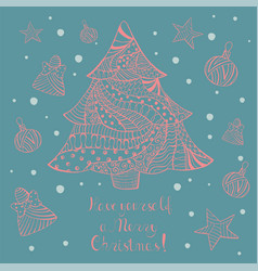 christmas greeting card with hand drawn objects vector image