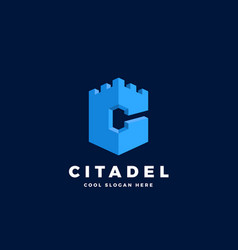 citadel castle or tower in form letter c vector image