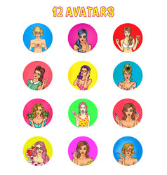 Collection pop art female avatars vector