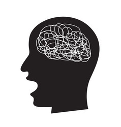 Confused concept with busy brain draw vector