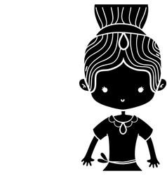 Contour girl dancing ballet with bun hair with vector