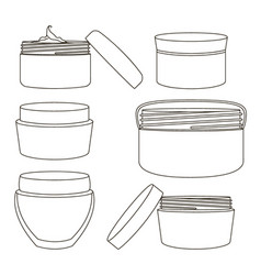 cream jar set vector image