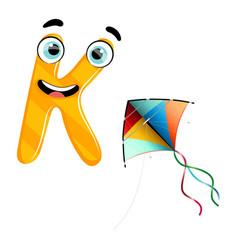Cute kids cartoon alphabet letter k vector