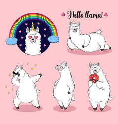 Cute lama doodle collection vector