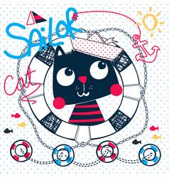 Cute sailor cat cartoon vector