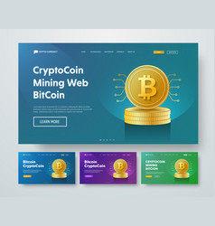 Design header with gold stacks of bitcoin coins vector