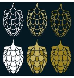 Design template set of harvest hops vector