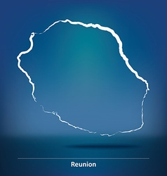 Doodle Map of Reunion vector