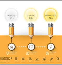 Education And Learning Pencil With Light Bulb Step vector