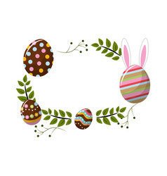 Eggs easter with branches plant decorative vector
