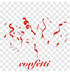 Falling shiny red confetti vector