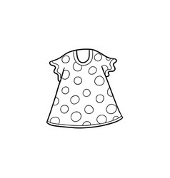 Flat cartoon kid girl dotted dress vector