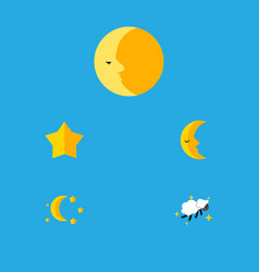 Flat icon night set of bedtime moon lunar and vector