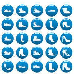 footwear shoes icons set blue simple style vector image