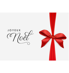 French christmas card of noel gift ribbon bow vector