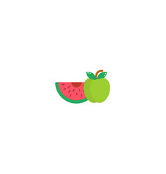 Fruit watermelon and apple icon in a flat style vector