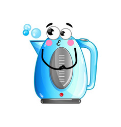 funny electric kettle isolated cartoon character vector image