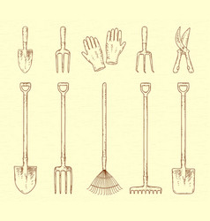 Garden tools set vector