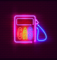 Gas station neon sign on brick wall vintage vector