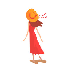 Girl in red dress and straw hat view from behind vector
