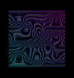 Glitched square lines in neon vivid colors on vector