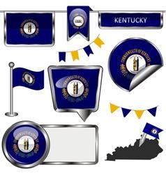 Glossy icons with Kentuckian flag vector image vector image