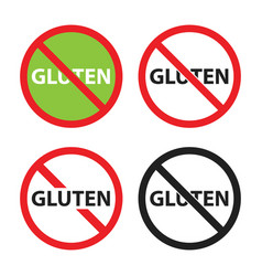 gluten free sign set no gluten icons vector image
