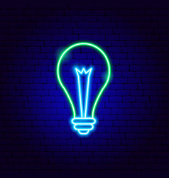 green electric lamp neon sign vector image