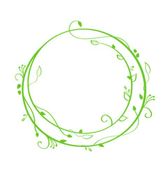 green hand drawn calligraphic round spring vector image