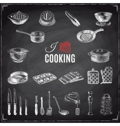 hand drawn with kitchen tools vector image