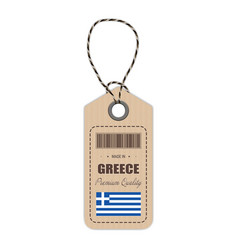 hang tag made in greece with flag icon isolated on vector image