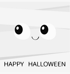 happy halloween mummy monster square face cute vector image