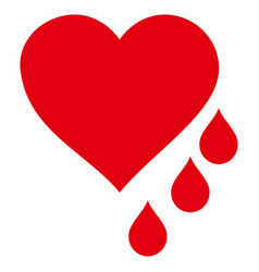 Heart blood drops icon vector