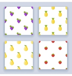 Icons set flat design fruit seamless pattern vector image vector image